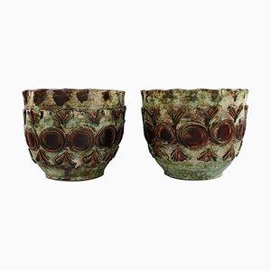 Macetas de cerámica vidriada, años 60. Juego de 2