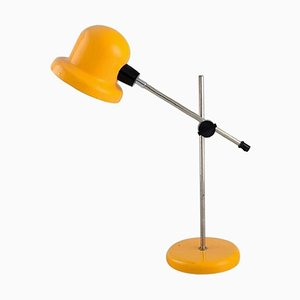 Adjustable Desk Lamp in Yellow Lacquered Metal, 1970s