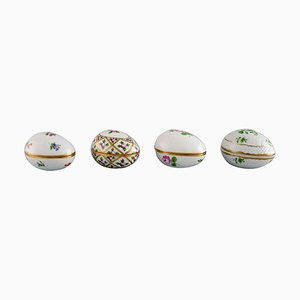 Eggs in Hand-Painted Porcelain from Herend, 1980s, Set of 4