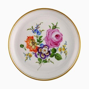 Antique Plate in Hand-Painted Porcelain with Floral Motifs from Meissen
