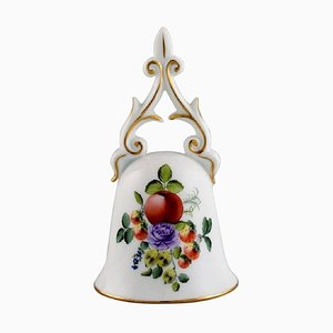 Table Bell in Hand-Painted Porcelain with Flowers and Gold Decoration from Herend