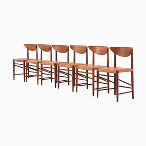 Dänische Modell 316 Esszimmerstühle von Peter Hvidt und Orla Mølgaard Nielsen, 6er Set