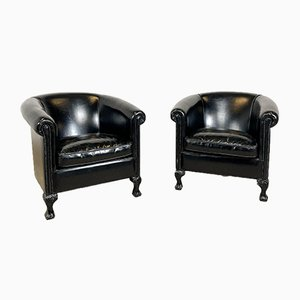 Vintage Black Sheep Leather Club Chairs, Set of 2