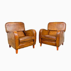 Vintage Cognac Colored Sheep Leather Armchairs, Set of 2