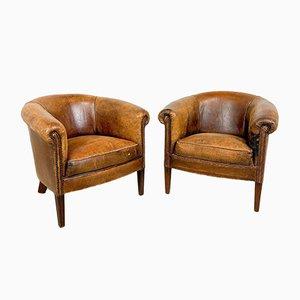 Vintage Sheep Leather Tub Club Chairs, Set of 2