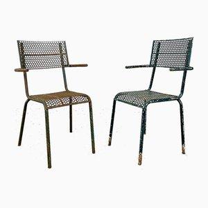 Industrielle Vintage Armlehnstühle von Rene Malaval, 2er Set