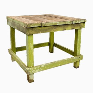 Industrial Painted Wooden Factory Side Table