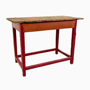 Vintage Industrial Painted Wooden Factory Side Table
