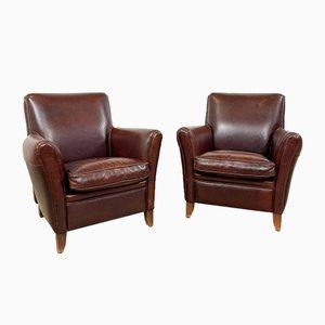 Vintage Dark Brown Leather Armchairs, Set of 2