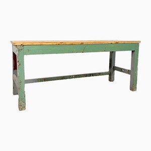 Table de Travail Industrielle Vintage en Bois Peint en Gris Vert