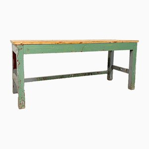 Vintage Industrial Painted Green Grey Wooden Worktable