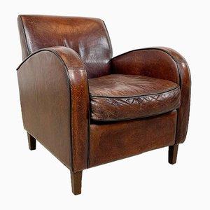 Vintage Sheep Leather Wagon Wheel Armchair