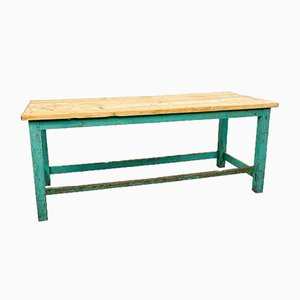 Industrieller bemalter Vintage Arbeitstisch aus Holz in Blaugrün