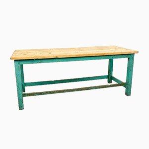 Table de Travail Vintage Industrielle en Bois Peint en Bleu Vert