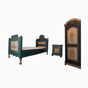 Set da camera da letto in stile country in legno massiccio