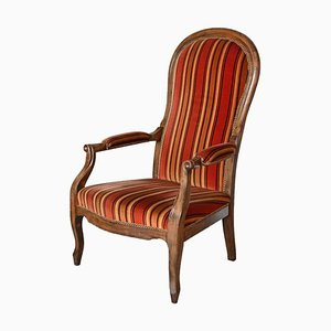 Antique Striped Solid Wood Upholstered Armchair
