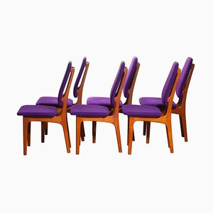 Teak High Back Dining Chairs by Erik Buch for O.D. Møbler, 1960s, Set of 6