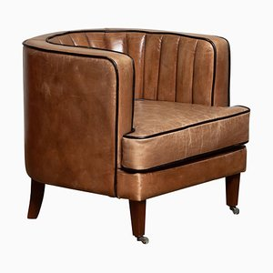 Brown Leather Art Deco Style Club Chair, Denmark, 1950s