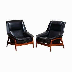 Profil Leather and Teak Lounge Chairs by Folke Ohlsson for DUX, 1960s, Set of 2