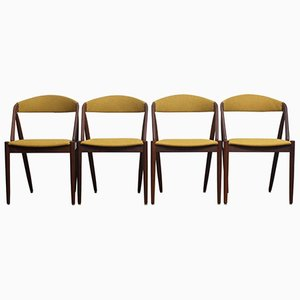 Walnut Model 31 Dining Chairs in Ochre by Kai Kristiansen, Denmark, 1960s, Set of 4