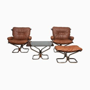 Cognac Leather and Steel Lounge Set by Harald Relling for Westnofa, 1970s, Set of 4