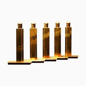 Hollywood Regency Brass Table Lamps from Örsjö, Sweden, 1960s, Set of 5
