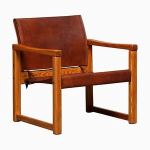 Cognac Leather Safari Model Diana Armchair by Karin Mobring for IKEA, Sweden, 1970s