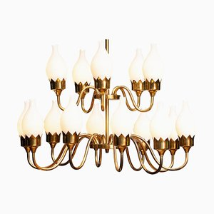Brass and White Glass Opaline Arm Chandelier from Fog & Mørup with Tulips, 1950s
