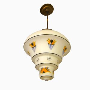 Art Deco Deckenlampe aus Messing & Glas