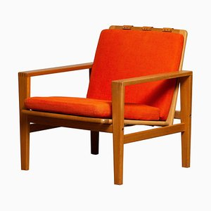 Scandinavian Lounge Chair in Oak and Leather by by Erik Merthen for Ire Skillingaryd, 1960s