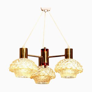 Brass and Glass Chandelier by Carl Fagerlund for Orrefors, 1950s