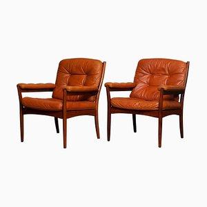Armchairs in Cognac Leather from Göte Möbel Nässjö, Sweden, 1970s, Set of 2