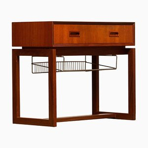 Teak Hall Cabinet with Brass Paper Rack, 1960s