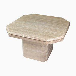 Octagonal Travertine Side Table, 1970s