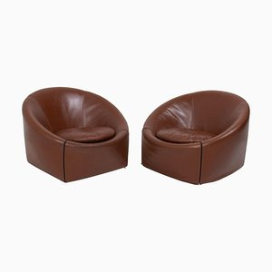 Brown Leather Capri Armchairs by Gordon Guillaumier for Minotti, 2005, Set of 2