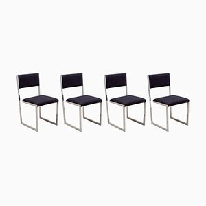 Floating Cantilever Leather Dining Chairs, 1970s, Italy, Set of 4