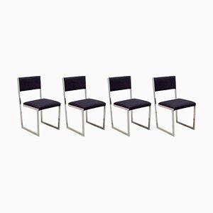 Freischwebende Leder Esszimmerstühle, 1970er, Italien, 4er Set
