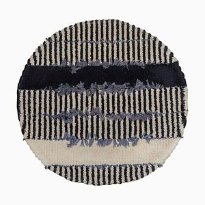 Round Rya Black and White Hanging Carpet, 1960s, Sweden