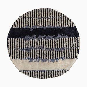 Round Rya Black and White Hanging Carpet, 1960s, Sweden