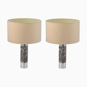 Brutalist Aluminum Table Lamp by Willy Luyckx for Aloclair, 1960s, Set of 2