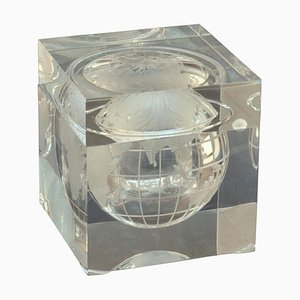World Globe Acrylic Cube Ice Bucket by Alessandro Albrizzi, 1960s