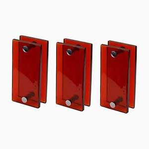 Large Push and Pull Double Door Handles in Red Glass