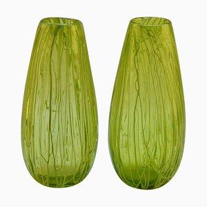Hand Blown Glass Acid Green Veined Vases, Set of 2
