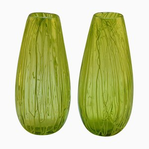 Vases Vert Foncé en Verre Soufflé à la Main, Set de 2