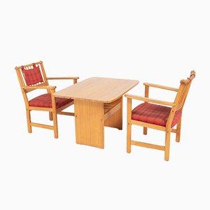 Furubo Armlehnstühle & Tisch von Yngve Ekstrom für Swedese, 1970er