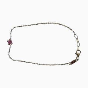 Garel 0.33CT Rosarote Saphir und 0.055CT Paveband-Armband aus 18 Karat Roségold