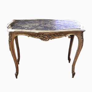 Golden Table with Faux Marble Shelf
