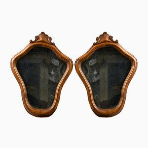 Mirrors with Gilded Wooden Cornice, Set of 2