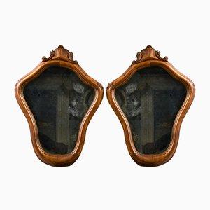 Spiegel mit Vergoldetem Gesims aus Holz, 2er Set