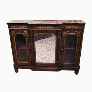 inlaid Furniture Dresser with Mirror and Side Windows